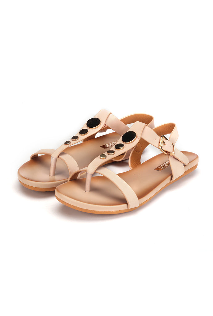 Metal Embellished Sandals with Buckle for Women