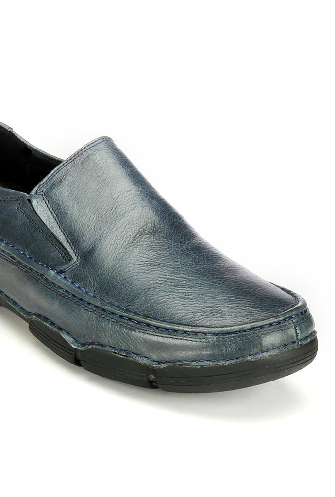 Trendy Textured Leather Slip-on - Navy - Comfort Fits - Pavers England