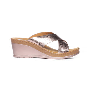 Textured Mule Wedges for Women-Pewter - Mules - Pavers England