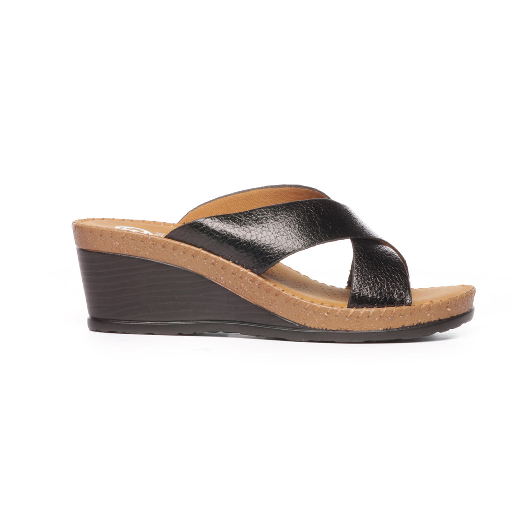 Textured Mule Wedges for Women-Black - Mules - Pavers England