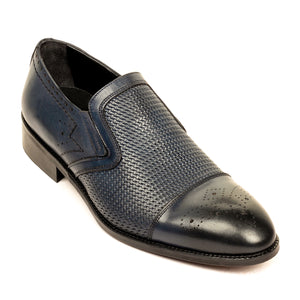 Stylish Leather Slip-ons for Men-Navy - Slip ons - Pavers England