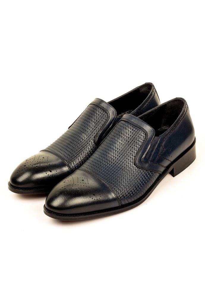 Stylish Leather Slip-ons for Men - Navy - Formal Loafers - Pavers England