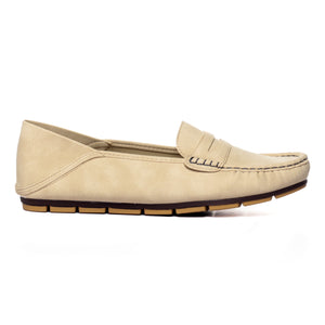 Women's Penny Loafers-Beige - Full Shoes - Pavers England