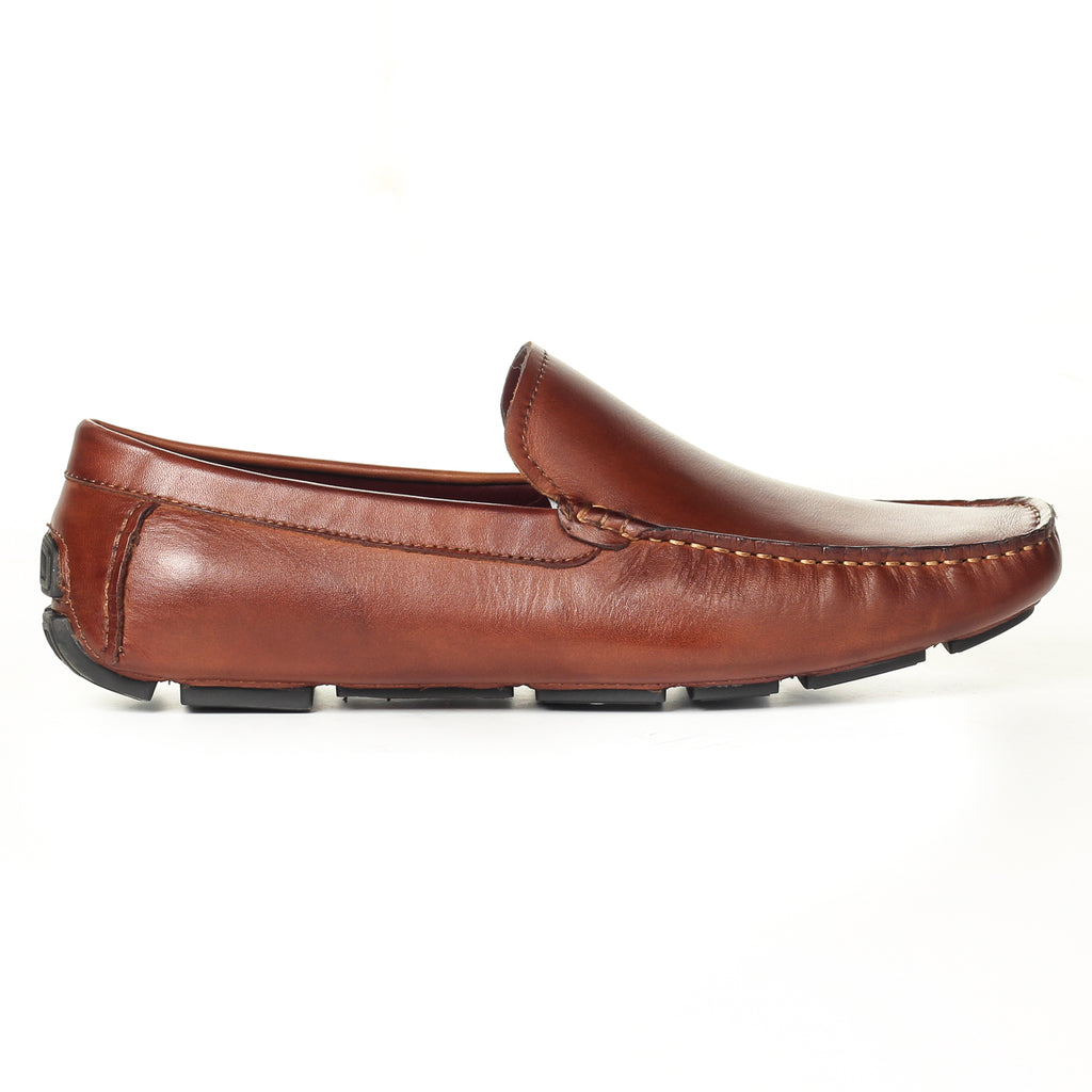 Men's Formal Shoe - Tan - Moccasins - Pavers England