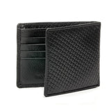 Textured Leather Wallet for Men - Black