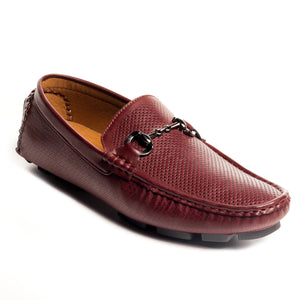 Textured Bit Loafers-Burgundy