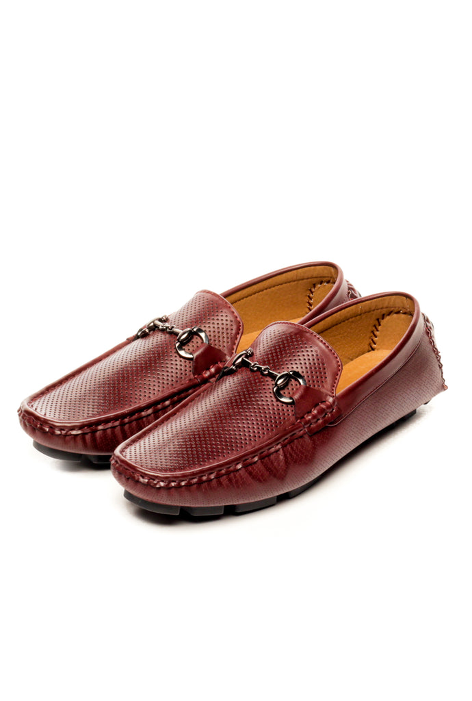 Textured Bit Loafers-Burgundy - Slip ons - Pavers England