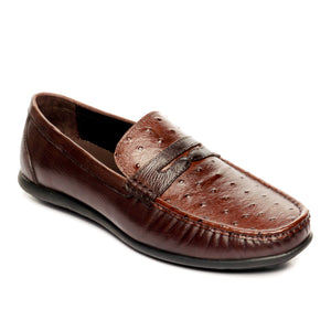 Trendy Textured Leather Loafers - Brown - Slip ons - Pavers England