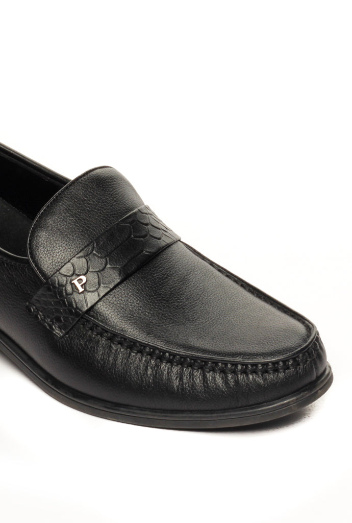 Leather Slip-on Loafers for Men - Black - Formal Loafers - Pavers England