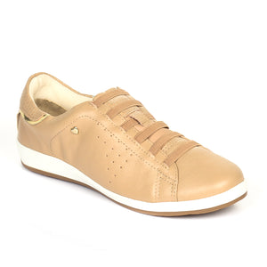 Leather Lace-Ups for Women-Beige - Full Shoes - Pavers England