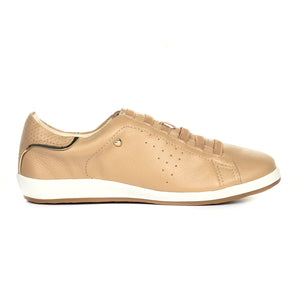 Leather Lace-Ups for Women-Beige