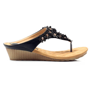 Toepost Wedges with Blings for Women-Black - Toeposts - Pavers England