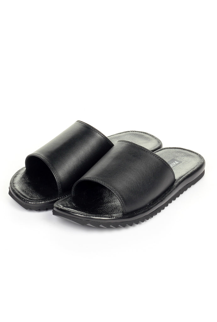 Casual Leather Mules for Men - Black - Pavers England