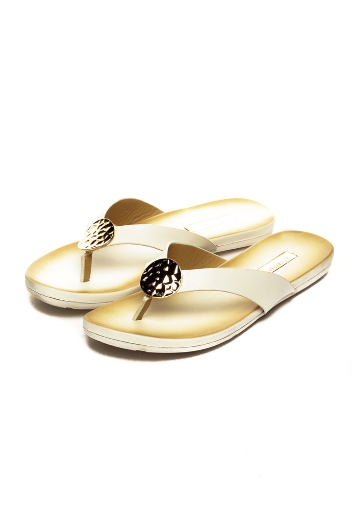 Trendy Black Slippers for Women-White - Toe Posts - Pavers England