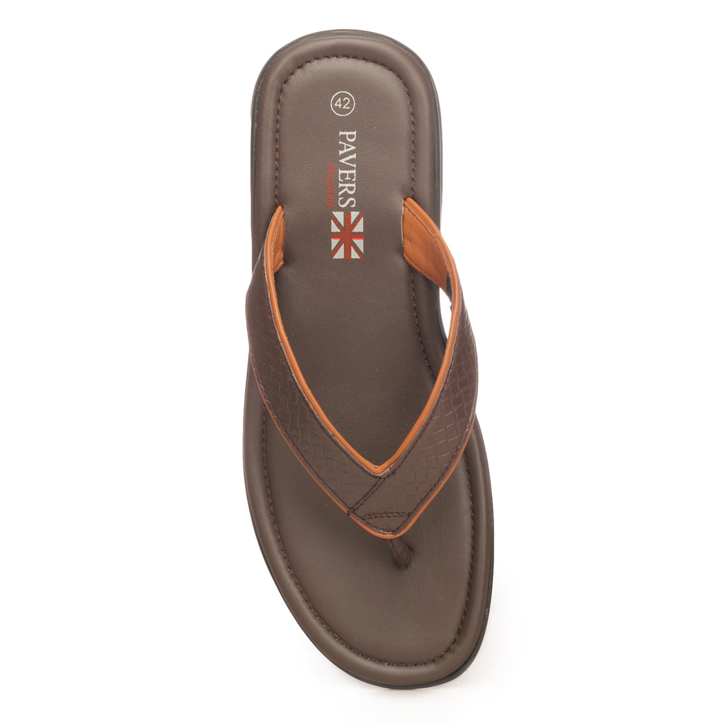 Comfortable Slippers For Men - Brown - Open Toe - Pavers England