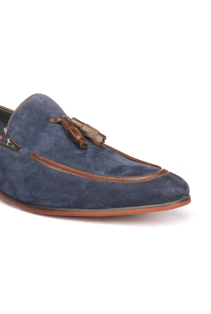 Suede Loafers For Men - Navy - Wedding & Occasion - Pavers England