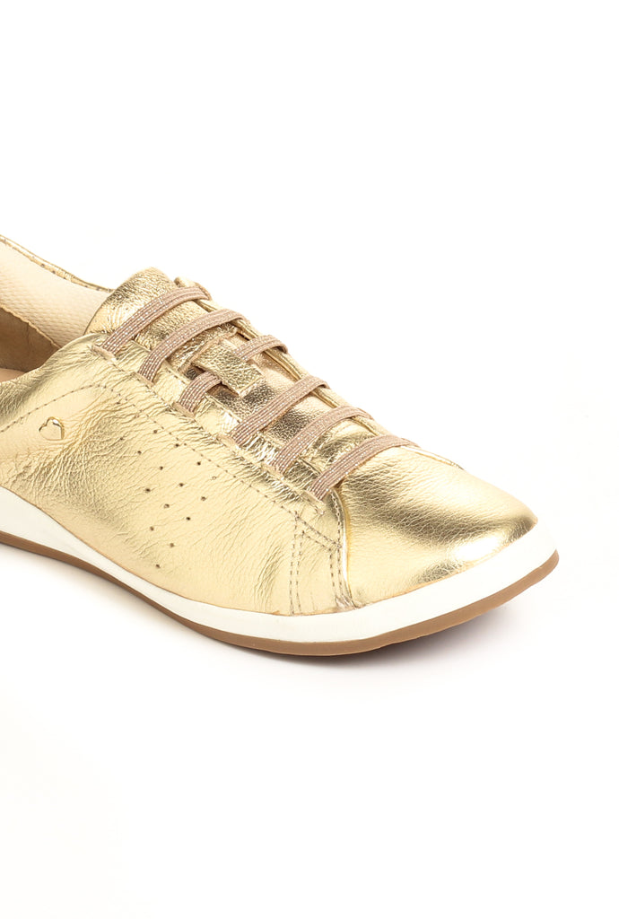 Leather Lace-Ups for Women-Gold - Sneakers - Pavers England