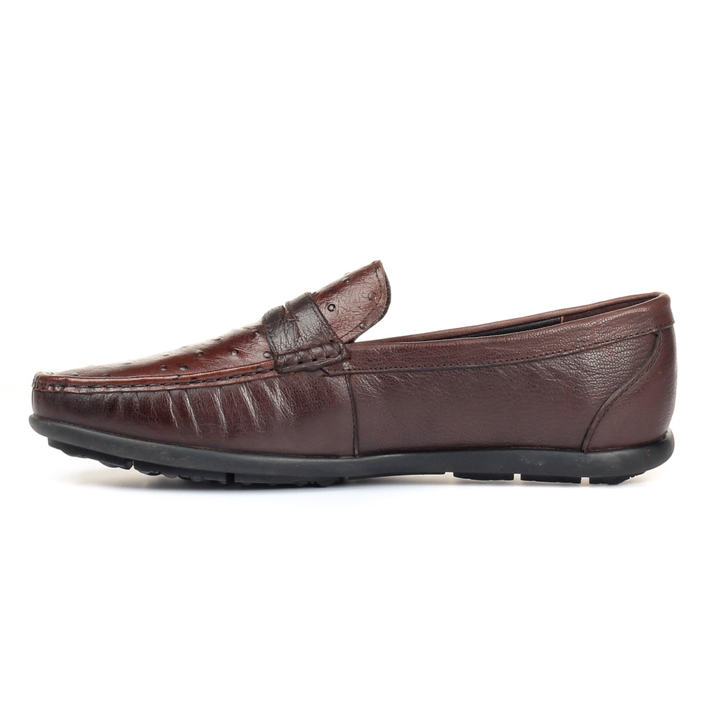 Trendy Textured Leather Loafers - Brown - Smart Casuals - Pavers England