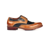Men's Brogue Shoe - Tan Navy - Laced Shoes - Pavers England