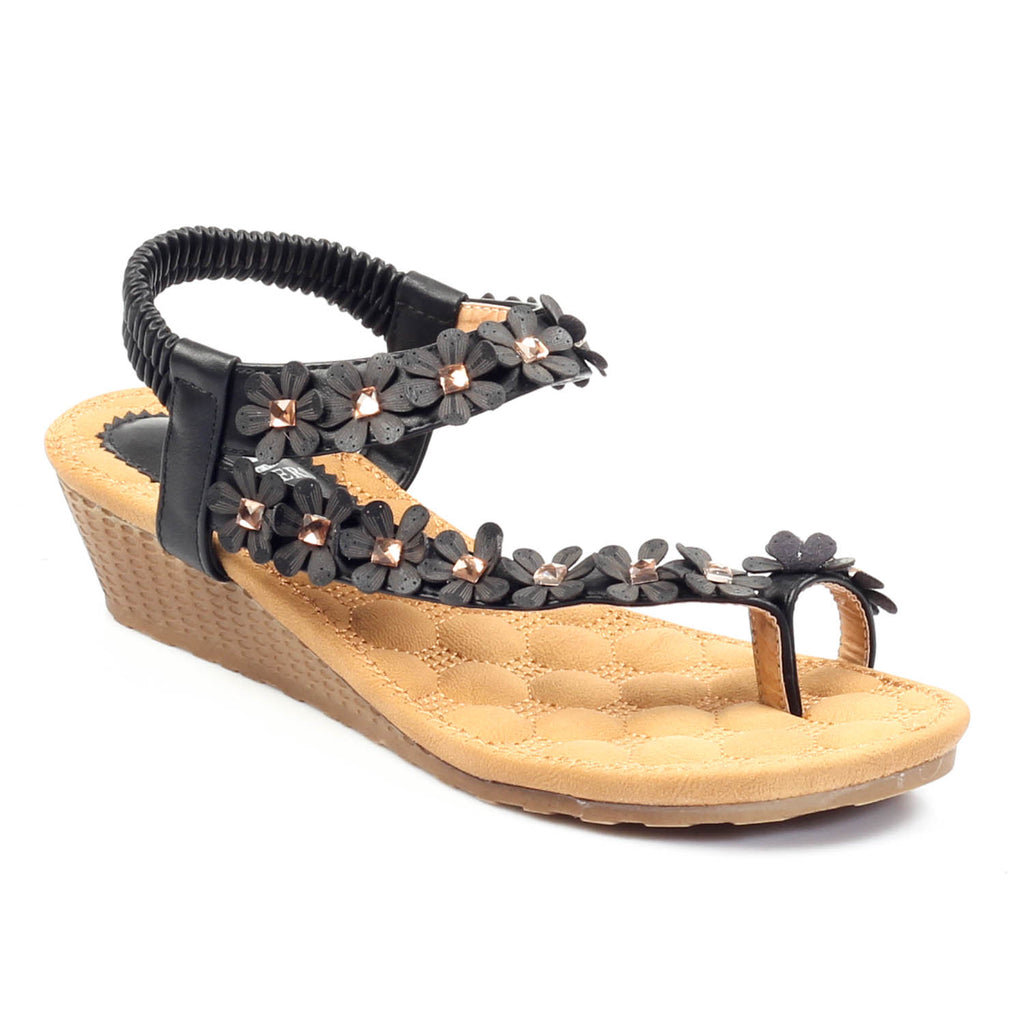 Wedge Sandals for Women-Black - Sandals - Pavers England