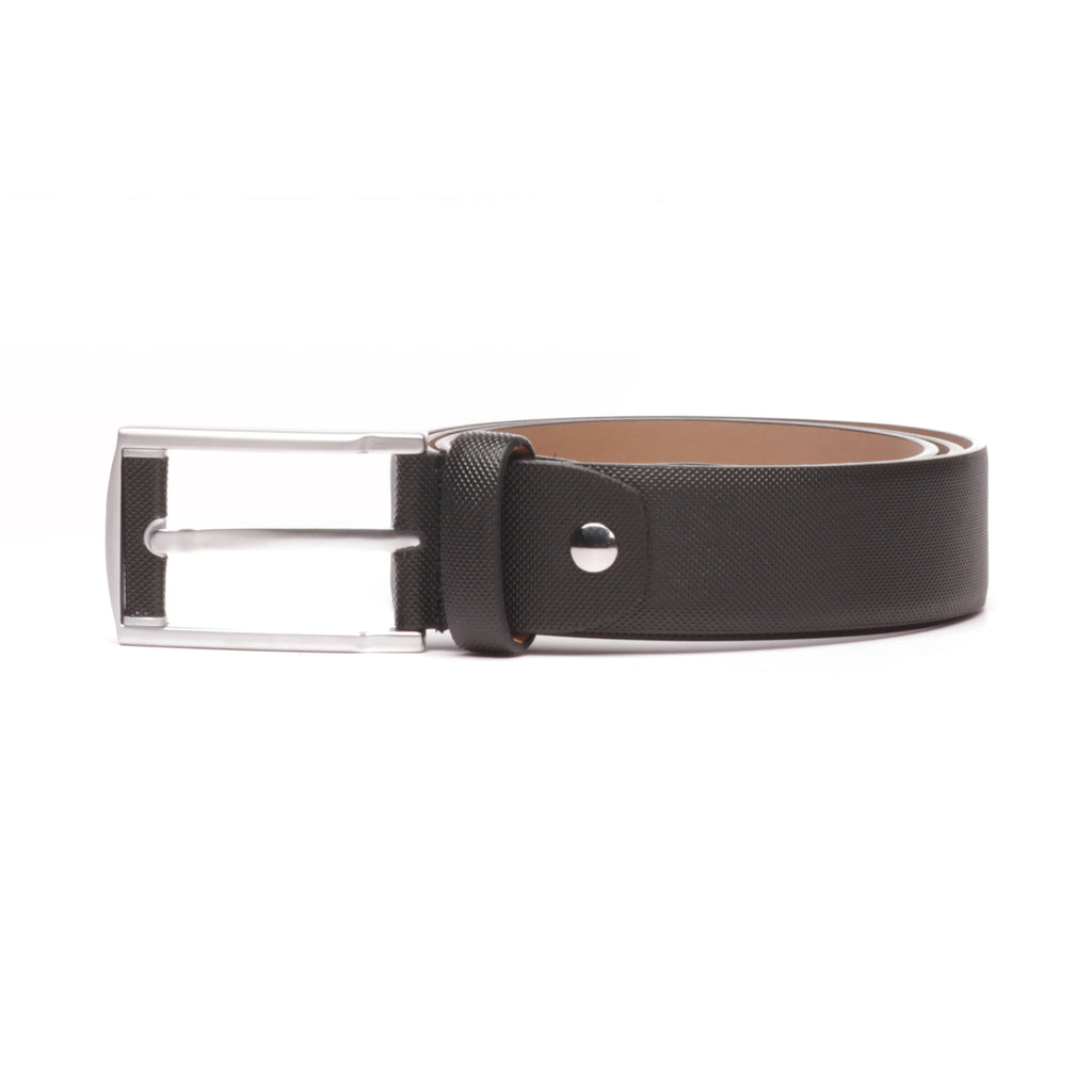 Leather Belt for Men with a Textured Finish - Black - Bags & Accessories - Pavers England