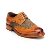Men's Brogue Shoe - Tan - Laced Shoes - Pavers England