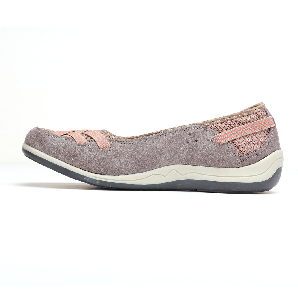 Suede Loafers for Women - Taupe - Full Shoes - Pavers England