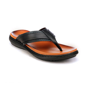 Trendy Leather Toe Posts for Men-Black