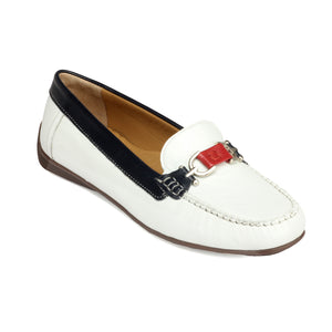 Textured Leather Loafers for Women - White - Full Shoes - Pavers England