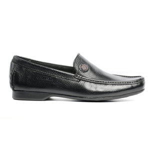 Split Toe Leather Slip-on Shoe-Black - Slip ons - Pavers England