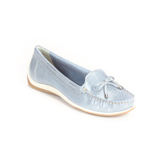 Leather Loafers for Women-Blue - Full Shoes - Pavers England