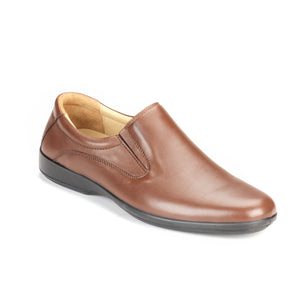 Mens Leather Slip-on Shoes-Brown