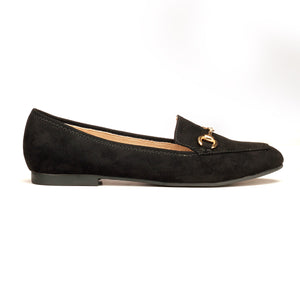 Textile Loafers with Low heels for Women-Black
