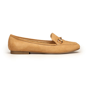 Textile Loafers with Low heels for Women-Camel