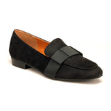 Textile Loafers with Medium Heel for Women - Black - Pumps - Pavers England