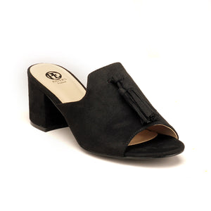 Slip-on Textile Mules for Women - Black - Open Mules - Pavers England