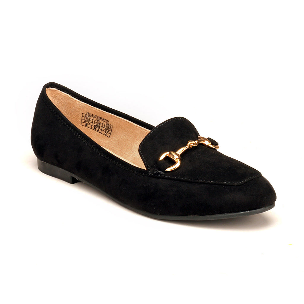 Textile Loafers with Low heels for Women-Black - Full Shoes - Pavers England
