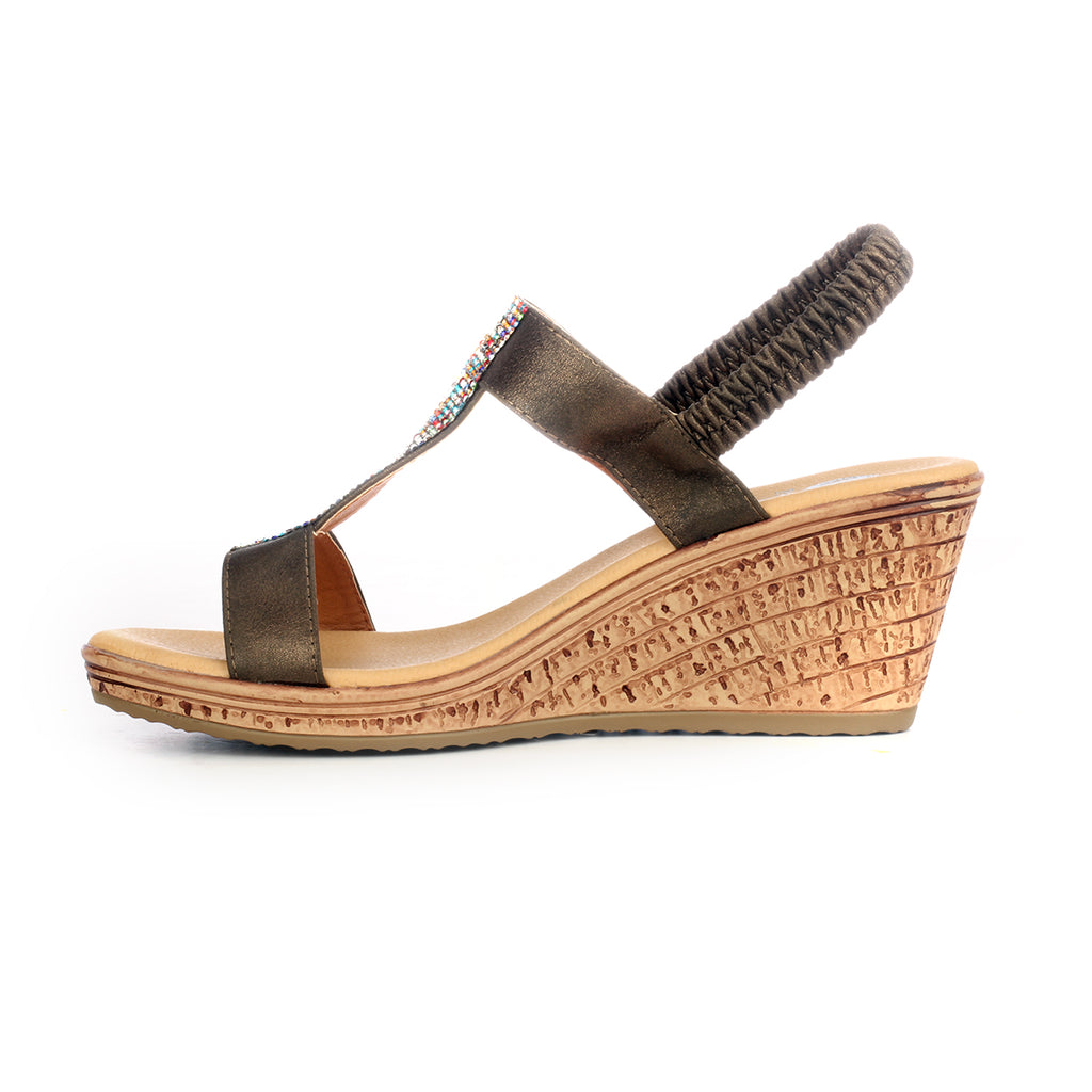 Wedges with Blings for Women-Bronze - Sandals - Pavers England