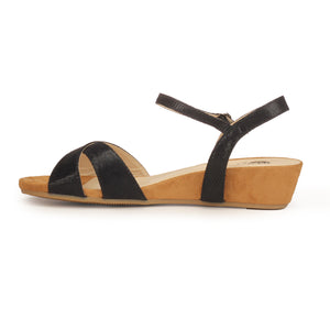 Textile Wedges with Medium Height for Women-Black - Sandals - Pavers England