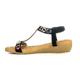 T-Strap Wedge Sandals for Women-Black - Sandals - Pavers England
