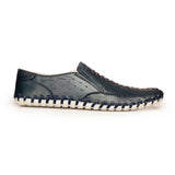 Leather Moccasins For Men - Navy - Comfort Fits - Pavers England