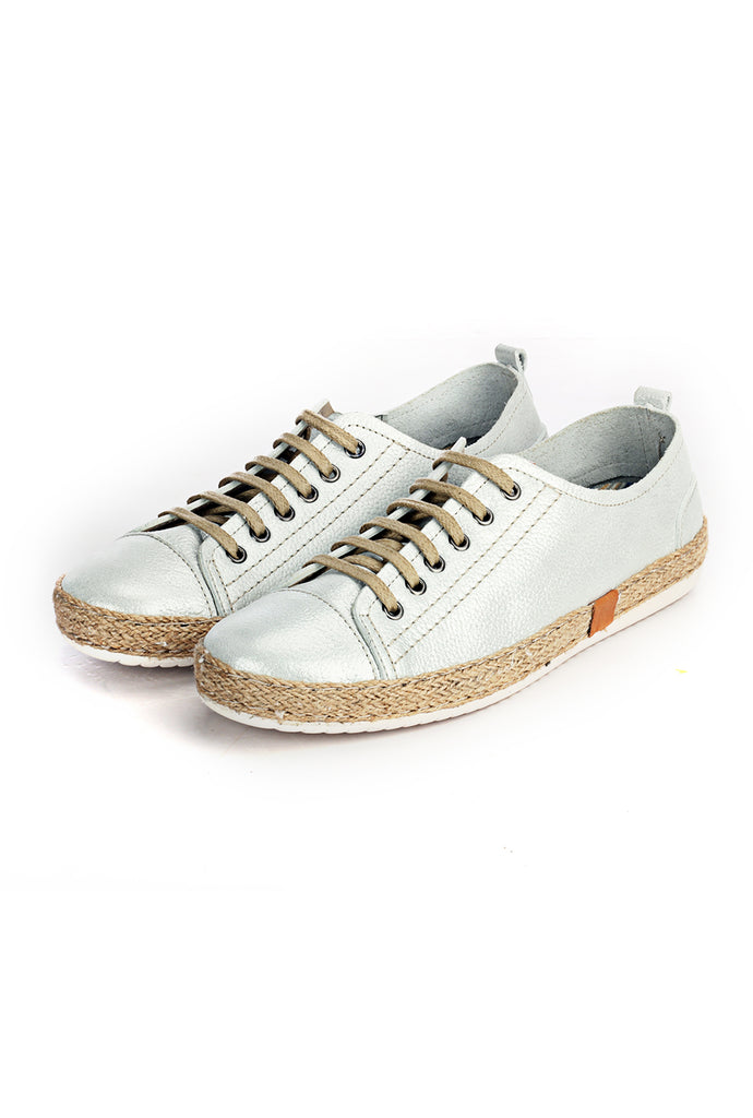 Leather Sneaker for Women - Silver - Sneakers - Pavers England