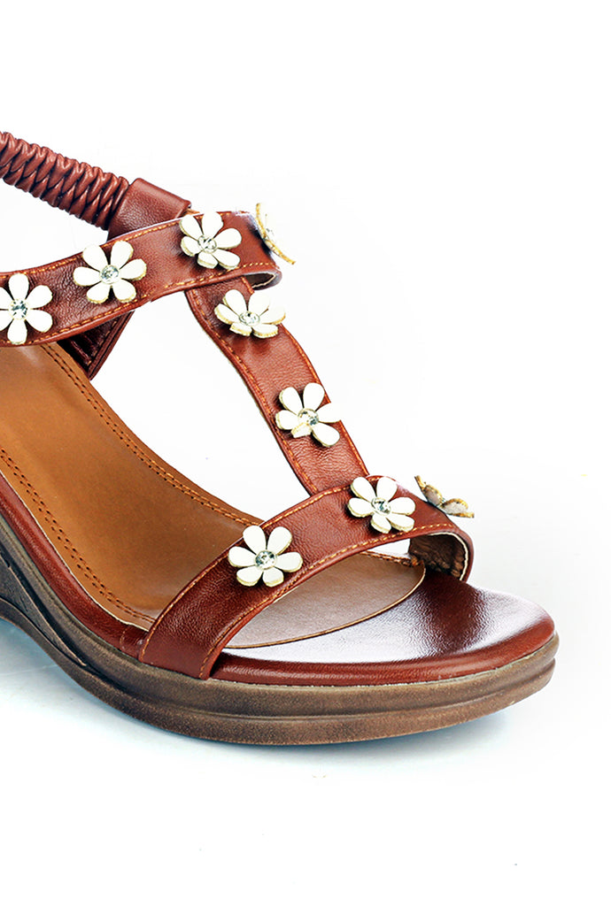 Bling Embellished Wedges for Women - Brown - Sandals - Pavers England