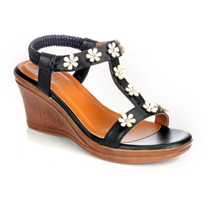 Bling Embellished Wedges for Women-Black