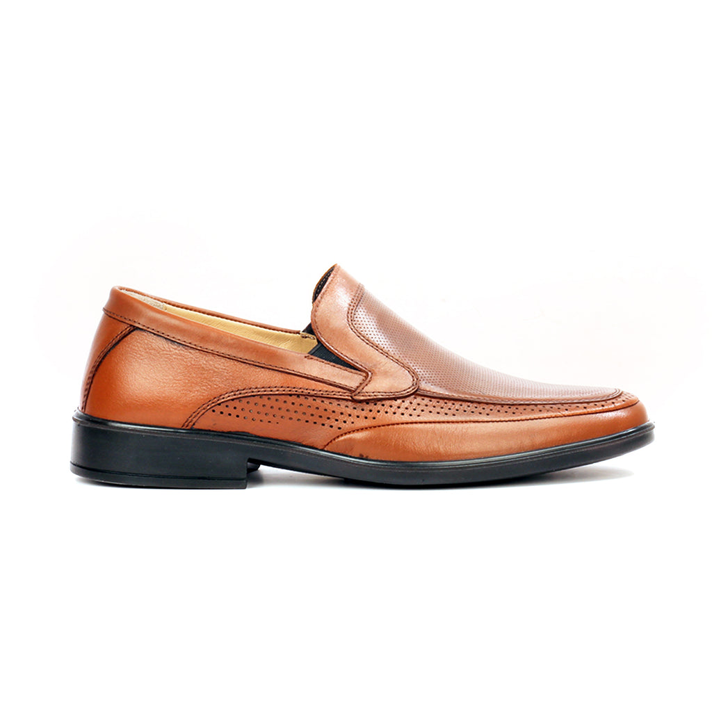 Men's leather loafer shoes with laser cut details