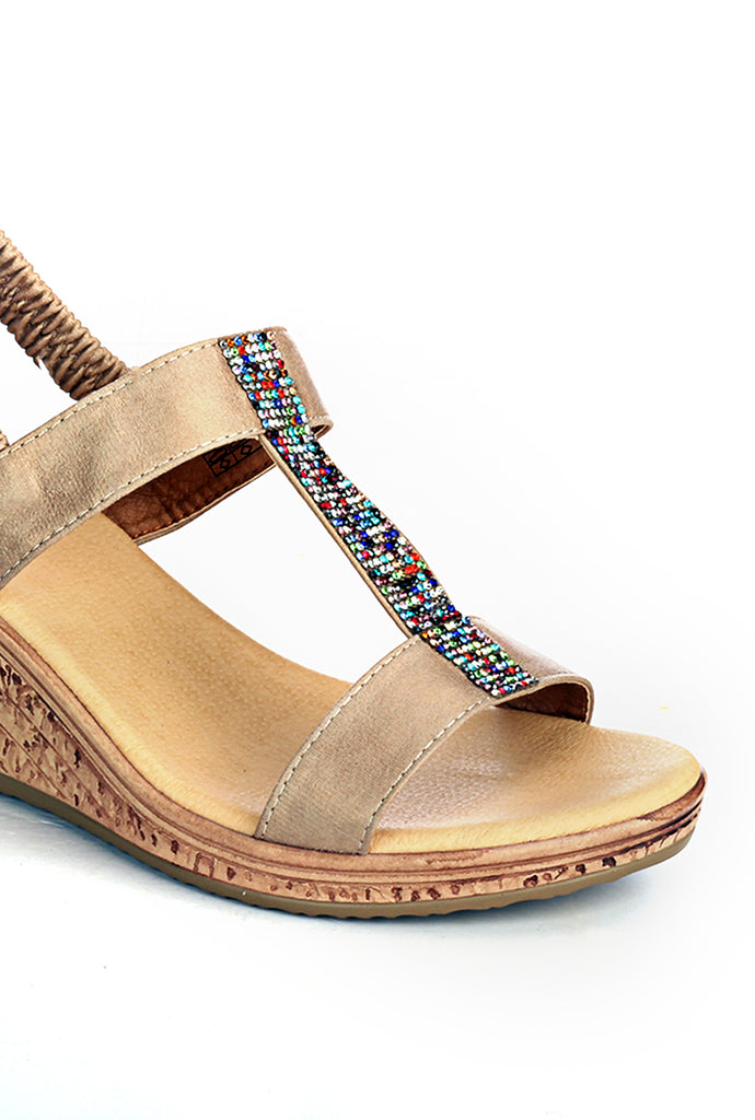Wedges with Blings for Women-Beige - Sandals - Pavers England