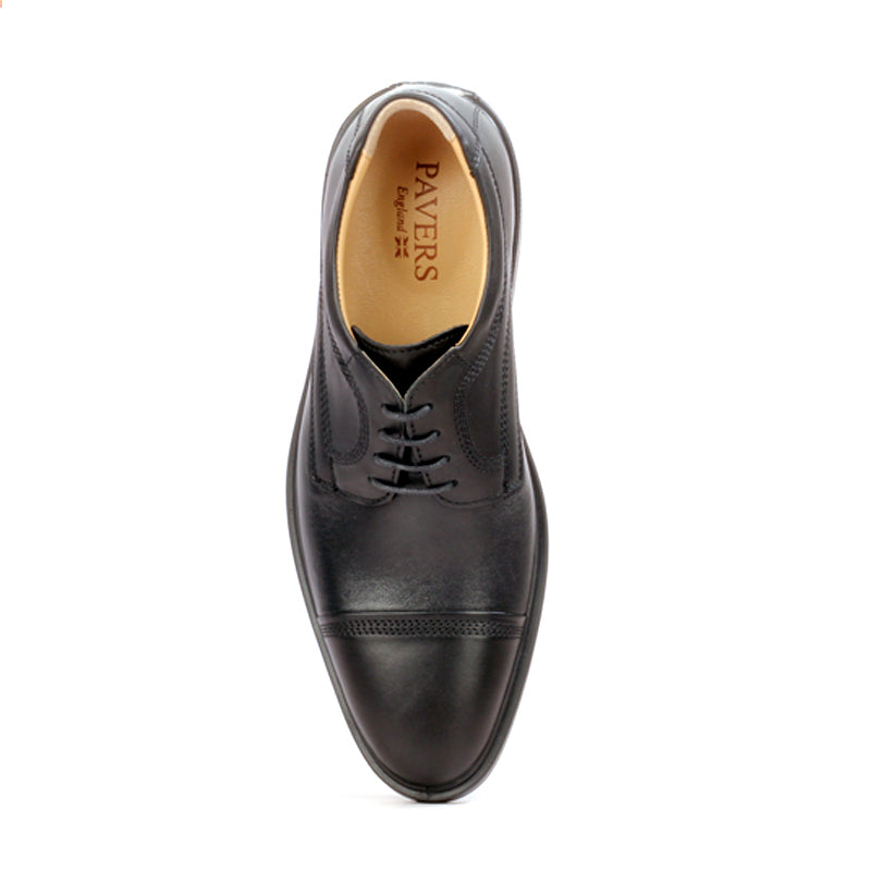 Leather lace-up shoes with low heel for men-Black - Laced Shoes - Pavers England