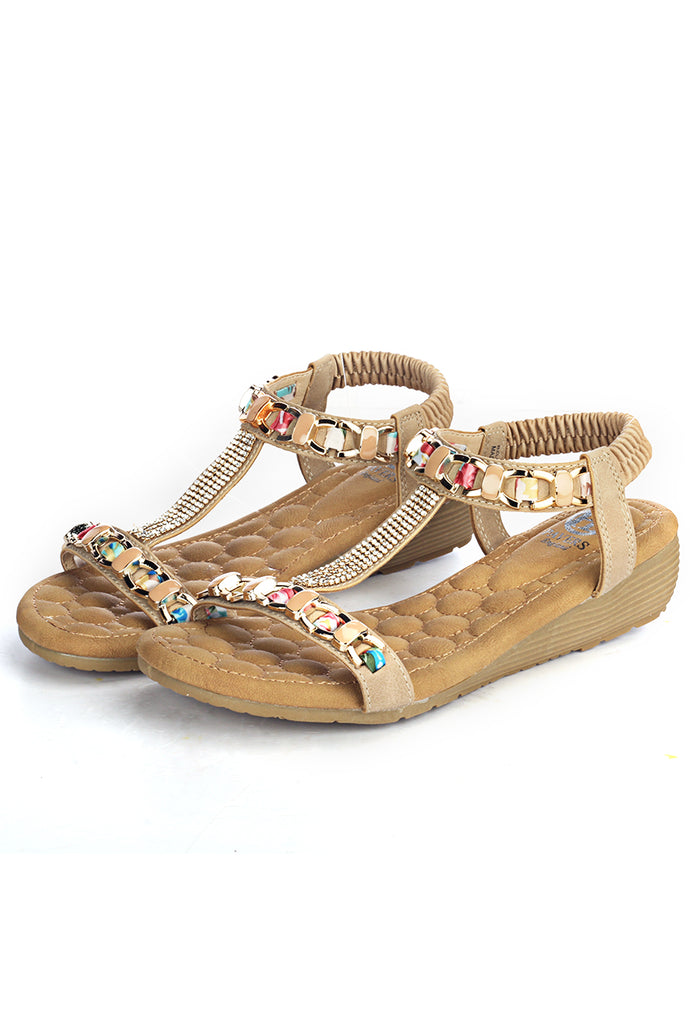 T-Strap Wedge Sandals for Women-Beige - Sandals - Pavers England