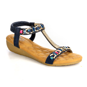 T-Strap Wedge Sandals for Women-Navy