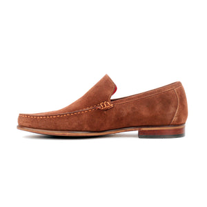 Suede loafers with low heel for men
